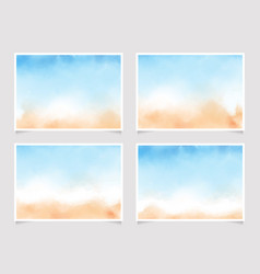 abstract loose blue and sand beach watercolor vector image