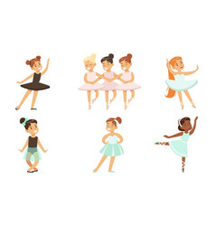 adorable ballerinas dancing in tutu dress set vector image