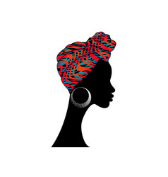 african woman zebra turban striped texture safari vector image