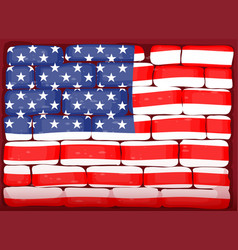 America flag on brickwall vector