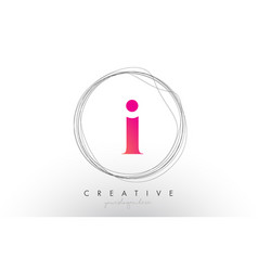 Artistic i letter logo design with creative vector