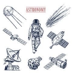 Astronaut spaceman planets in solar system vector