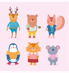 back to school cute animals cartoon with clothes vector image