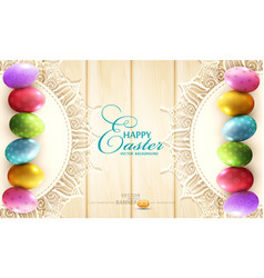 background with a circle lace and easter eggs vector image