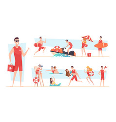 Beach lifeguards kids spend good safety time vector