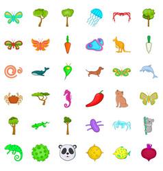 Bio world icons set cartoon style vector