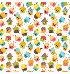 Birthday background kawaii cupcakes seamless vector