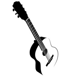 Black and white image of acoustic guitar vector
