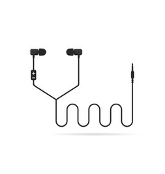Black earphones line isolated on white vector