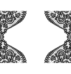 Black lace frame vector