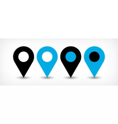 Blue flat map pin sign location icon with shadow vector