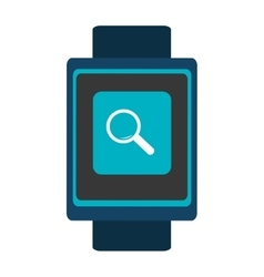 Blue smartwatch with colorful media icon vector