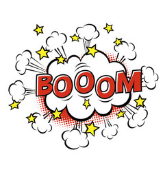 Boom phrase in speech bubble comic text bubble vector