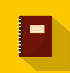 Brown spiral notepad icon flat style vector