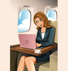 businesswoman in the airplane vector image