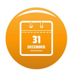 calendar thirty first december icon orange vector image