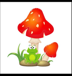 cartoon red mushrooms with grass and stones and vector image