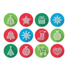 Christmas flat icons icons - Xmas tree present vector
