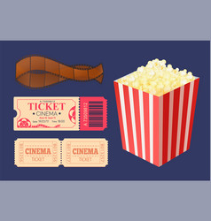cinema ticket and movie tape popcorn snack package vector image