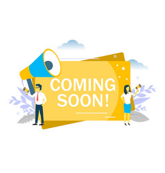 Coming soon announcement flat style design vector