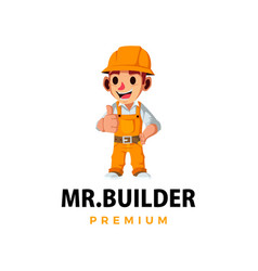 construction builder thumb up mascot character vector image