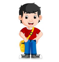 cute boy go to school vector image