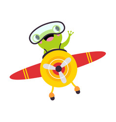 Cute green frog with goggles flying on airplane vector