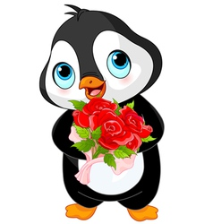 Cute Valentine day penguin vector image