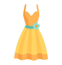 Cute vibrant elegant yellow dress for special vector