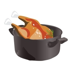 Delicious chicken in the pan icon food vector image