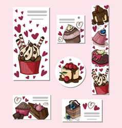 desserts and sweets vector image