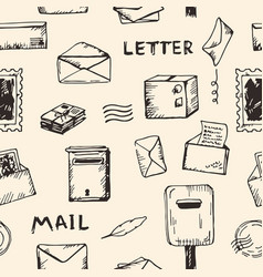 drawing vintage background with postal objects vector image