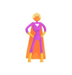 Elderly superman standing in heroic posture vector