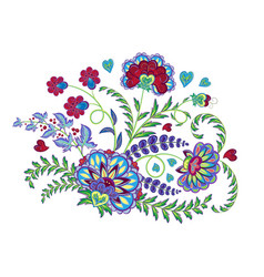 Embroidery stitches with fantasy flowers in bright vector