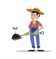 Farmer man manure plant vector