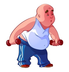 Fat man with dumbbells vector