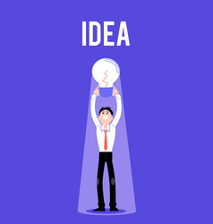 flat business man with light bulb idea vector image
