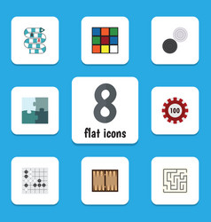flat icon play set of poker gomoku chequer and vector image