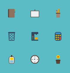 flat icons contact watch whiteboard and other vector image