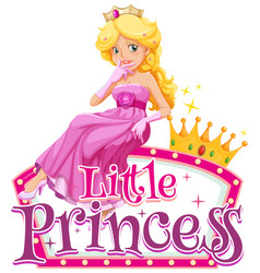 Font design for word little princess with cute vector