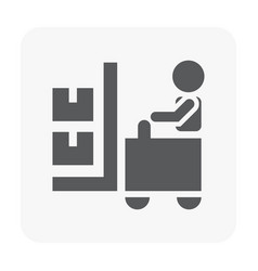 Forklift and worker icon on white vector