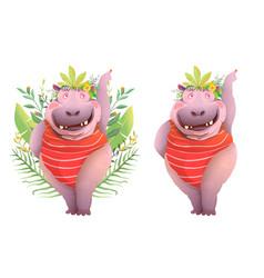 funny hippopotamus animal character cartoon vector image