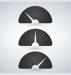 Gauge level indicator icon set from low to high vector