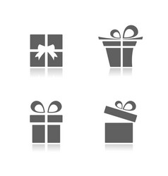 gifts icons set with reflection on white vector image