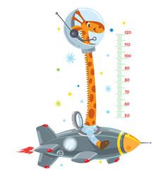 Giraffe on rocket meter wall or height chart vector