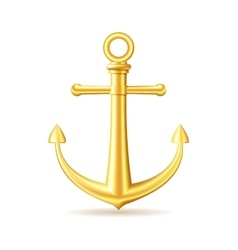 Gold anchor on white background vector image