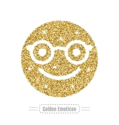 Golden glitter happy emoticon in glasses Hipster vector image