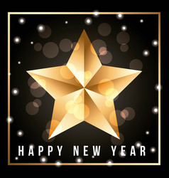 greeting card with shining gold star happy new vector image