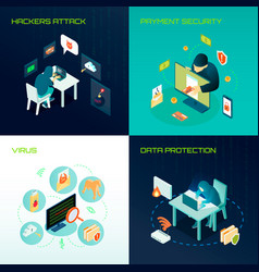 hacker isometric design concept vector image