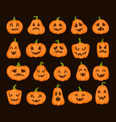 halloween orange pumpkin set cartoon pumpkins vector image